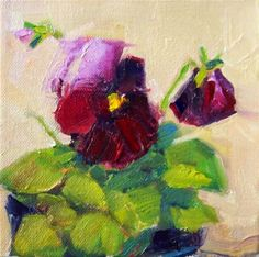 "Daily Paintworks - ""Maroon Pansies,still life,oil on canvas,6x6,price$200"" - Original Fine Art for Sale - © Joy Olney"