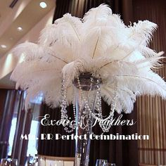 """50 pcs White TAIL Ostrich Feathers 13-16"""",wedding table centerpiece,decoration,ostrich centerpiece, feather centerpiece. Exotic Feathers"""