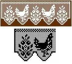 Crochet Edging And Borders edging filet crochet pattern of flower and chicken repeat. Crochet Birds, Crochet Art, Thread Crochet, Vintage Crochet, Crochet Lace Edging, Crochet Motifs, Crochet Doilies, Knitting Patterns, Crochet Patterns