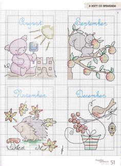 Cross-stitch Animals in Calendar Months, part color chart on part Cross Stitch For Kids, Cross Stitch Boards, Cross Stitch Bookmarks, Mini Cross Stitch, Cross Stitch Samplers, Cross Stitch Animals, Counted Cross Stitch Patterns, Cross Stitch Designs, Cross Stitching