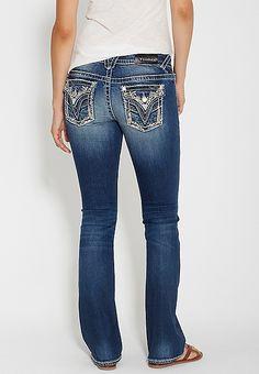 53951937dde Vigoss® dark wash slim boot jeans with thick stitching