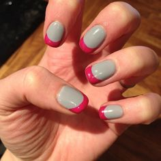 Grey with Pink Tips #BioSculpture