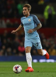 Aleix Garcia of Manchester City runs with the ball during the EFL Cup Fourth Round match between Manchester United and Manchester City at Old Trafford on October 26, 2016 in Manchester, England.