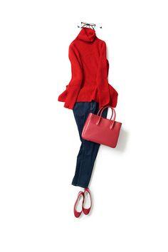 kk-closet | 2015-09-15 赤多めの配色でパリっぽい雰囲気 今日は赤が着たい日。 濃いインディゴブルーのカプリパンツに、合わせる靴もニットもバッグも赤にして、いつもと違う赤多めの配色にしました。 ベースメイクはナチュラル。だけどマスカラを濃いめにつけて、髪を無造作にキュッと結んでパリっぽく。 こんな感じで出かけたいな。
