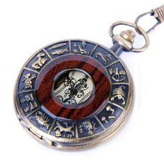 Wedding gift:Skeleton Pocket Watch Chain Mechanical Hand Wind Vintage Zodiac Design Full Hunter Value Quality - PW15