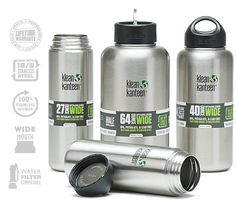 Klean Kanteen Widestainless steel is a much healthier drinking storage option than plastic and aluminum and the wide mouth option  is compatible with several filtration systems and they come in a variety of sizes depending on your use for them.