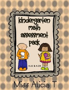Kindergarten Common Core Math Assessment Pack K.CC & K.OA