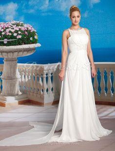 A-line Chiffon Watteau Train Jewel Neck Wedding Dress - $158.99 in champagne for a bridesmaid?