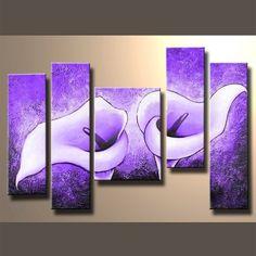 Flowers 5 Panel Framed Canvas Art #CanvasArt #Flowers #Framed #Nature #ReadyToHang