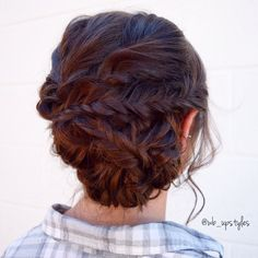 Fishtail updo made out of all braids! Perfect and fun hairstyle for a bridesmaid! @wb_upstyles