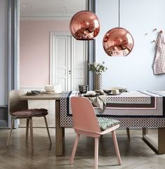 Speaking of rose gold...hatcha! I love all the pink and coppery colors in this home at Brit + Co.
