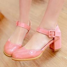 retro pink mary jane spectator pump rounded closed toes chunky heel - Google Search