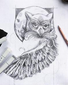 Working progress    #tattoodesign #owl #sketch #markers #draw #design