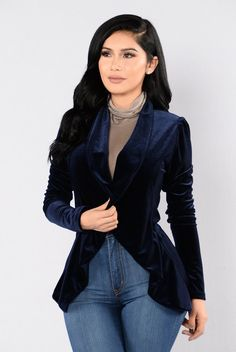 - Available in Navy, Black, and Burgundy - Velvet Blazer - Long Sleeve - Open Front - Flowy Front - Made in USA - 66% Polyester 29% Rayon 5% Spandex