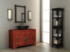 Asian Bathroom Decor! Love the sink!