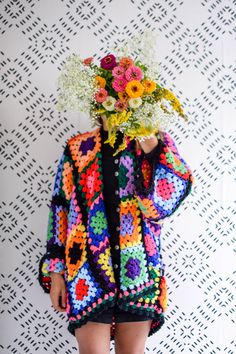Granny Square Sweater Tutorial - One CrafDIY Girl - - how to make your own sweater out of a beloved granny square blanket. This will definitely add a pop of color to your wardrobe this winter! Granny Square Sweater, Granny Square Häkelanleitung, Granny Square Crochet Pattern, Crochet Jacket Pattern, Granny Square Tutorial, Crochet Afghans, Crochet Cardigan, Knit Crochet, Granny Square Projects