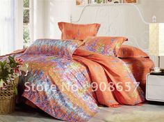 purple and orange Comforter | 500 thread count purple lavender orange pattern 100% cotton bedding ...
