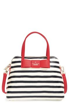 Kate Spade New York 'Julia Street - Maise' stripe satchel | Nordstrom | Shopswell. he newest member of the julia street handbag family adds a graphic punch to any ensemble thanks to its jaunty navy and white stripes and signature bow in a cheery lipstick-red hue.