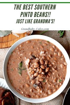 This Pinto Beans Recipe with Ham Hocks is a true Southern Comfort Food ma's Recipe! Dried pinto beans are soaked then simmered with meaty ham hocks. galore reaching tender thick perfection creating the best country meal you've ever had! Recipes Using Beans, Recipe For Pinto Beans And Ham, Southern Soup Beans Recipe, Brown Beans Recipe, Mexican Beans Recipe, Pinto Beans And Rice, Beans In Crockpot, Crockpot Recipes, Mexican Food Recipes