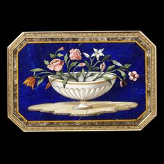Flowers on pietre dure with lapis lazuli snuffbox, Italy, probably Florence, c. 1815, museum no. 188-1878; George Mitchell Bequest | The Victoria and Albert Museum, London