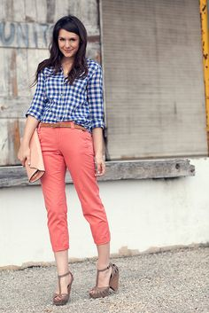 must. get. coral. pants. (in the meantime, gingham button up with brown trousers and brown heels?)