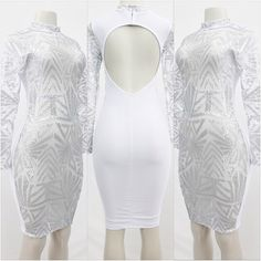 Abstract Mock Neck Frontal See Thru Sequin Dress