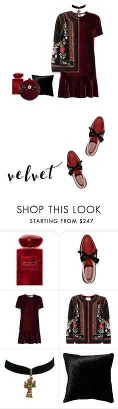 """Velvet rouge"" by julie-balabanova ❤ liked on Polyvore featuring Giorgio Armani, Marc by Marc Jacobs, Yves Saint Laurent, Velvet, Christian Lacroix, Squarefeathers and Serpui"