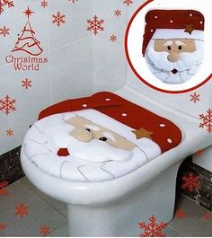 Christmas Santa Clause Novelty Festive Bathroom Toilet Seat Cover Decoration N View