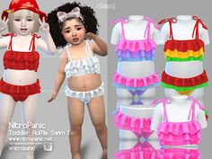 Toddler Ruffle Swim Set for The Sims 4 Toddler Cc Sims 4, Sims 4 Toddler Clothes, Sims 4 Cc Kids Clothing, Sims 4 Teen, Sims Four, Sims 4 Mods Clothes, Sims Cc, Toddler Outfits, Sims 4 Outfits