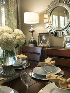 Fabric for kitchen drapes...P Kauffman Clarice in Dove....and the sunburst mirror Z Gallerie
