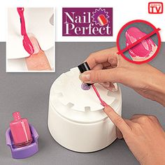 "NAIL PERFECT Product # HC4627 $14.98 CAD - Get a salon-perfect manicure without the salon prices. Hand rest makes it easy to apply nail polish cleanly and evenly-just slide each finger into the appropriate size nail slot and brush. Polish only goes onto the exposed nail surface. Keeps your hand steady. Includes a holder for your polish bottle, sizing discs, built-in storage drawer and over 200 nail decals. Plastic. 3-1/2""H x 5""Diam."