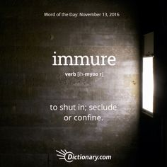 Word: Immure (v.) to shut in; seclude, or confine.