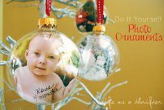 DIY Easy Photo Ornaments Tutorial via LifeAsAThrifter.blogspot.com