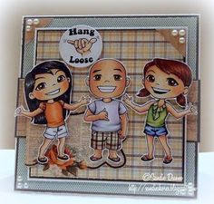 Card by Sandie D featuring Summer Fumi, Chuckles & Yumi and the retro Hang Loose icon (Hang Loose Series)