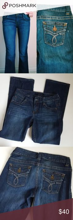 Calvin Klein short lean boot cut jean 27x28 b9 In good condition! Calvin Klein jean. Lean boot cut style, size 4/27 with an inseam of 28 inches. Used item: pictures show any signs of wear. Bundle up! Offers always welcome:)  Check out my husband's closet!: @kirchingeraaron Calvin Klein Jeans