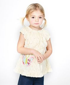 Look at this #zulilyfind! White Butterfly Appliqué Peasant Top - Infant, Toddler & Girls #zulilyfinds