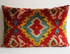 Sukan / SALE - Soft Hand Woven - Silk Velvet Ikat Pillow Cover - Mustard, Beige, Turquoise, Green, Blue, Red Color. $69.95, via Etsy.