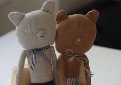 Bear, natural linen, handmade, etsy