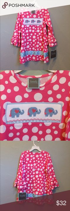 Pink polka dot smocked dress. NWT Honestly, is this not adorable? Sz 3T. Smocked elephants. Pink with white polka dots. Ruffles at the sleeves. What more could you ask for in a little girl's dress? No trades. Price firm Honestly Dresses Casual