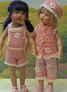 Hand crochet outfits  8 inch Kish dolls.  by jdldollclothes.com