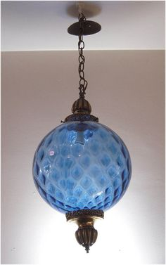 Lighting, Hanging Globe Light Fixture, Mid-Century Modern Light Fixture, Mood Lighting, Blue Glass Globe on Etsy, $159.00