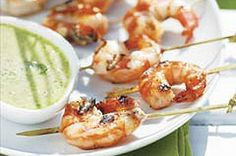 SWEET GRILLED SHRIMP WITH CILANTRO DIPPING SAUCE RECIPE