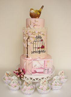 Spring birdcage cake