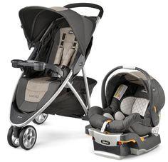 Chicco Viaro 3 Wheel Travel System Stroller w/ KeyFit 30 Car Seat Teak NEW