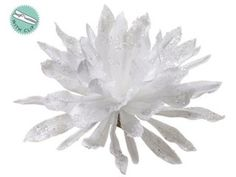 "Intoxicating work  XPC602-WH                             9"" Iced Cactus Flower w/Clip White"