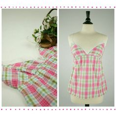Victoria's Secret Plaid Tank Top Adorable EUC Victoria's Secret babydoll tank top with lace trim on the bust. Adjustable straps. 100% cotton. Never worn. Victoria's Secret Tops Tank Tops