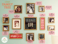 love this picture wall with quotes and family tree photos.