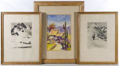 """Lot 759: Reinhold H. Palenske (American, 1884-1954) """"Over the Pass"""" and """"Top of the World"""" Etchings; Undated, both are signed lower right, one depicting a skier on a mountain and another depicting mountains with hunting dogs; together with a Southwest style watercolor painting by Boyd"""