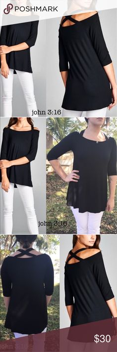 Casual tops Adorable top with criss cross back that can be dressed up or down   ✔️made in the USA -95%rayon 5%spandex  ✔️good stretch - bust 32/ 34/ 36 - has an aline fit  ✔️price is firm Boutique Tops