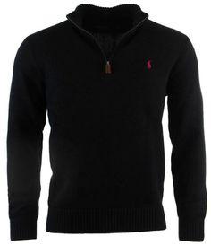 Polo Ralph Lauren Mens Half Zip Pullover Cotton Sweater - M - Black